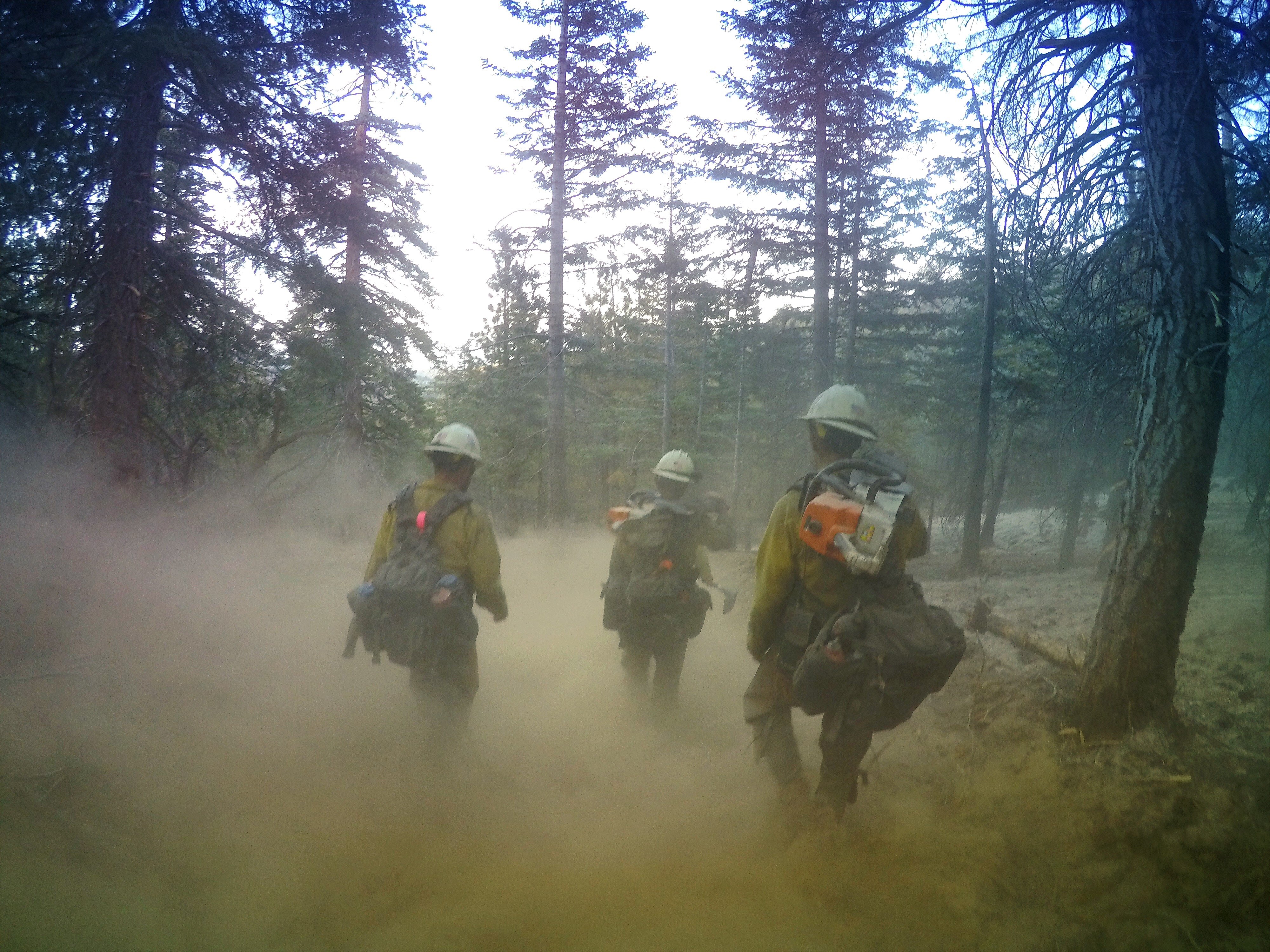 3 wildland firefighters walking through smoke taken by ExpertVoice Expert Gregg Boydston